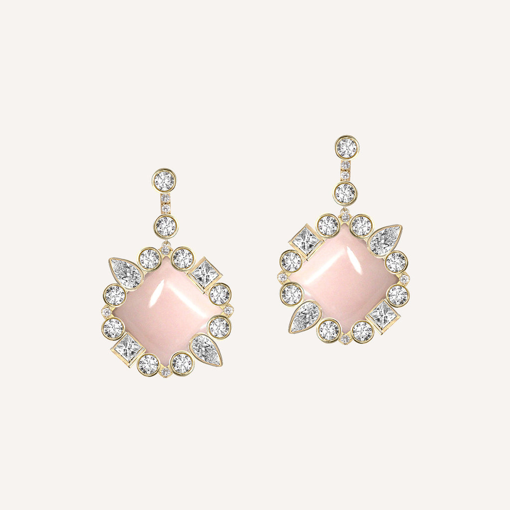 Stepping Stone Flower Earrings W Pink Opal Ilana Ariel Collections