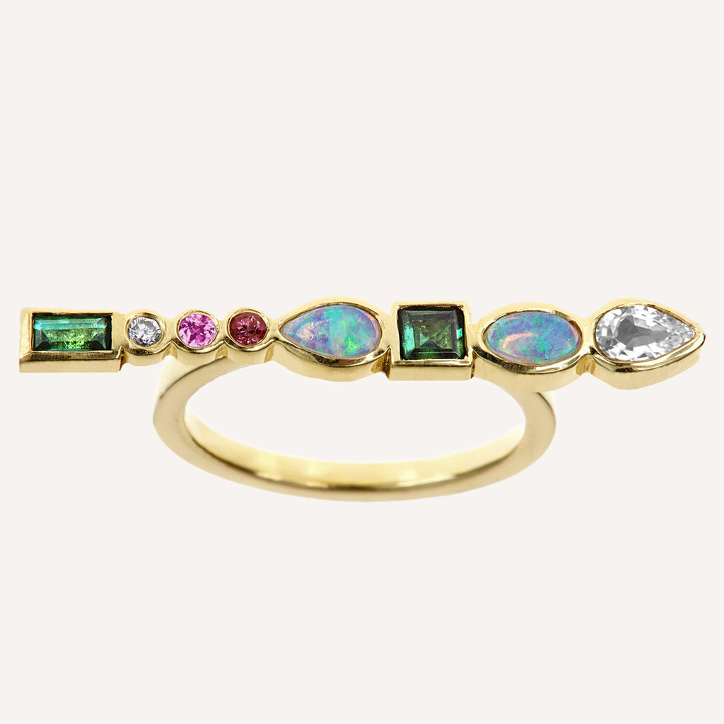 MULTI STONE LONG BAR RING
