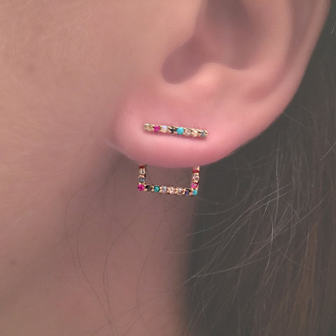 MULTI STONE SQUARE ILLUSION EARRING