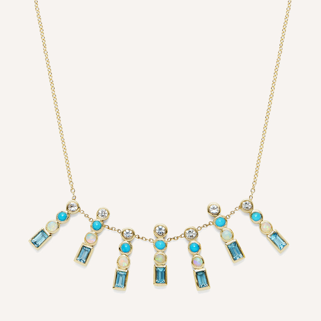 SHADES OF BLUE CIRCLE SHORT SEPTET NECKLACE