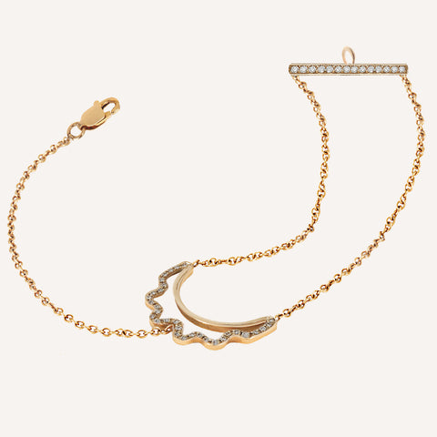 CUT-OUT CRESCENT 2&1 CHAIN BRACELET WITH DIAMONDS