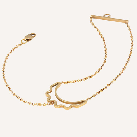 CUT-OUT CRESCENT 2&1 CHAIN BRACELET