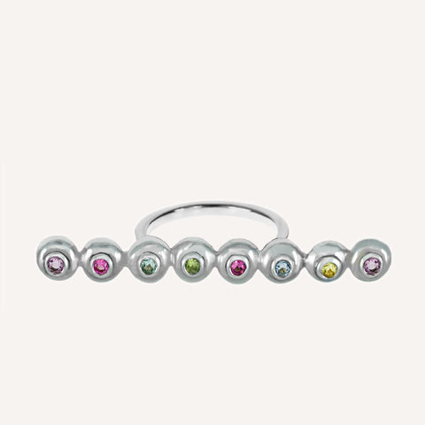 MULTICOLORED MINI CAP LONG BAR RING