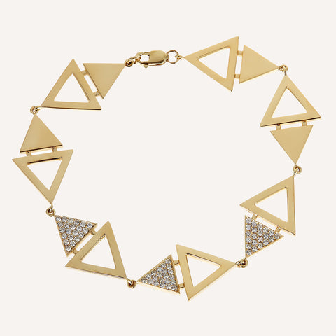 DOUBLE TRIANGLE LINKED BRACELET WITH DIAMONDS