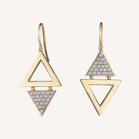 DOUBLE TRIANGLE SINGLE EARRINGS