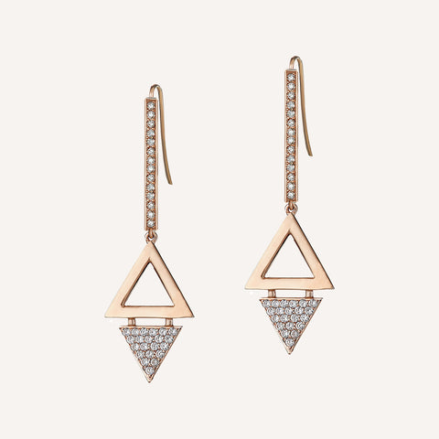 DOUBLE TRIANGLE STEM DROP EARRINGS