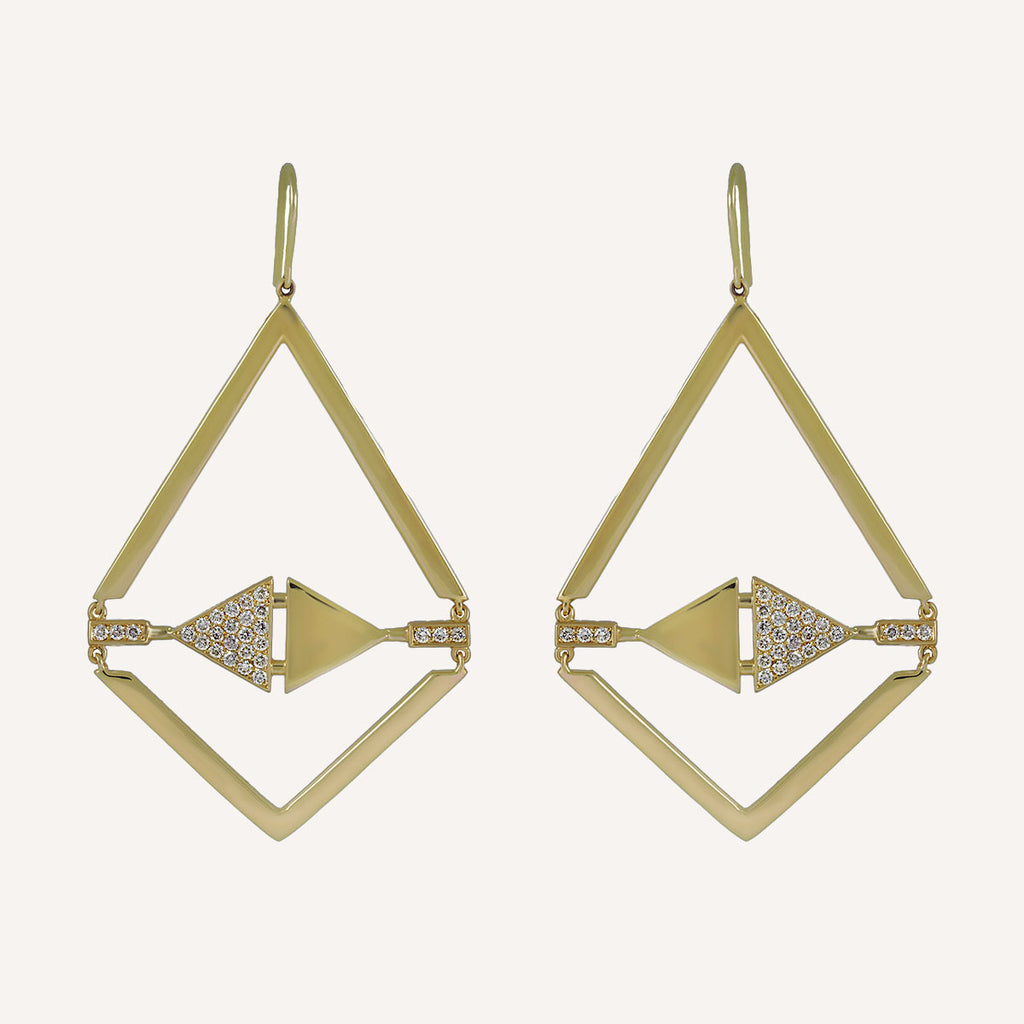 LOGO KITE EARRINGS WITH DIAMONDS
