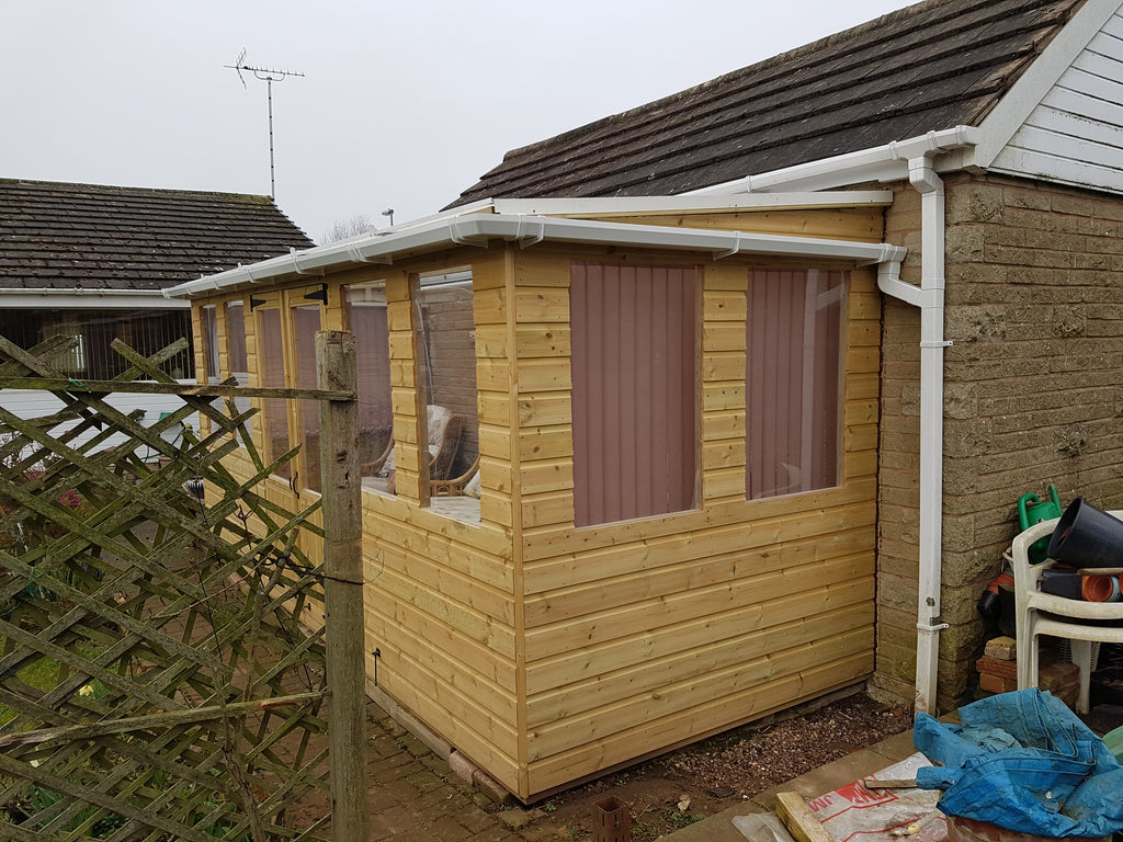 Bespoke made to meaure pent potting shed with windows and clear poly carbonate roofing (Sheffield. Rotherham, Worksop) after