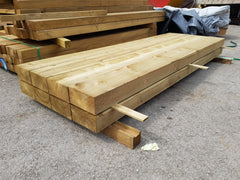 "brand new railway sleepers treated green pressure treated tanalised 100 x 200 4"" x 8"" 2.4m 8'"