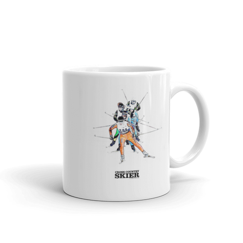 Cross Country Skier 11oz Watercolor Mug