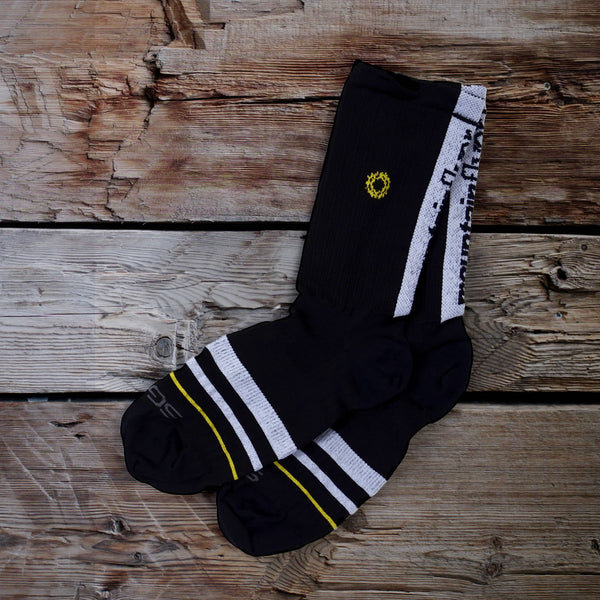 Mountain Flyer Black Gold Logo Sock