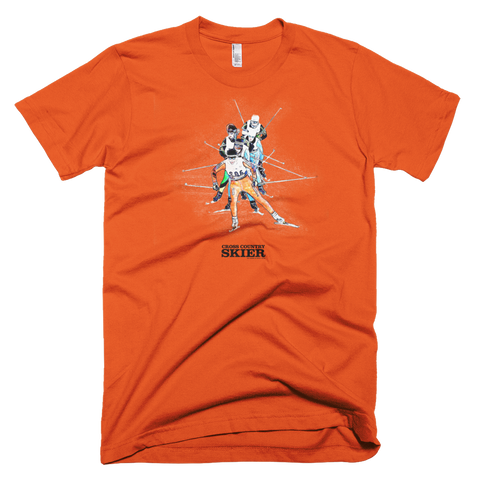 Cross Country Skier Watercolor T <br> [ORANGE]