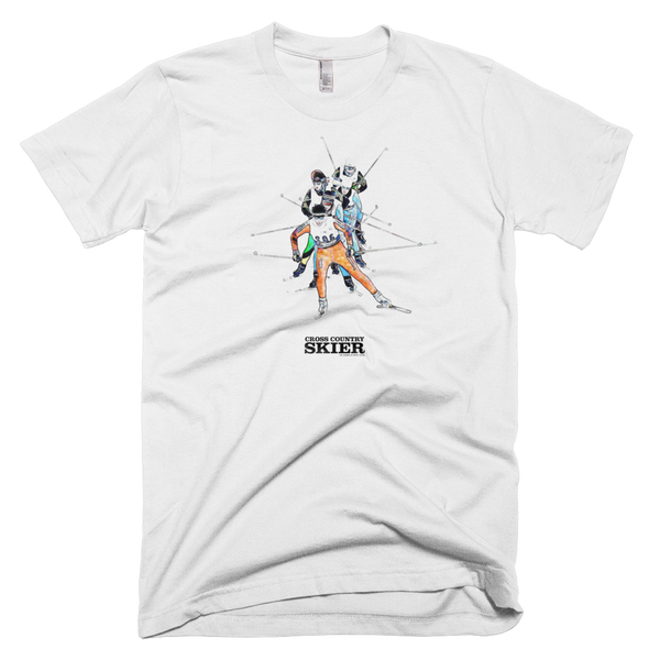 Cross Country Skier Watercolor T <br> [WHITE]