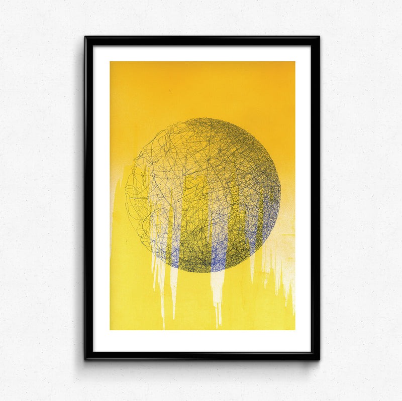 Blue & Yellow Planet Print by Anna Lockwood