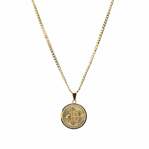 Bitcoin Necklace Gold