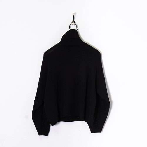 Versace Roll Neck Knitted Sweatshirt Black Women's Small