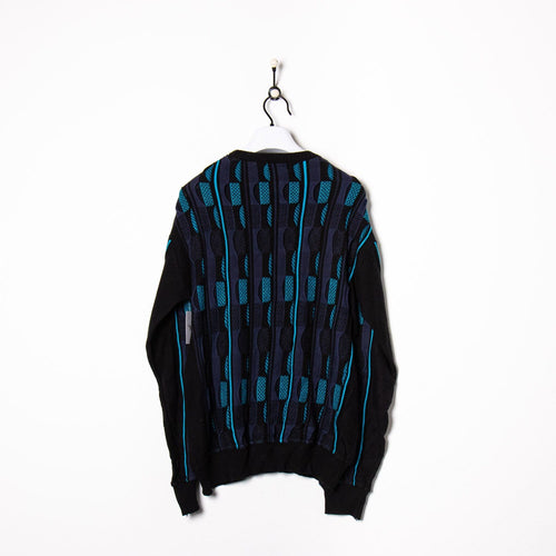 Coogi Style Knitted Sweatshirt Navy/Beige/Brown Large