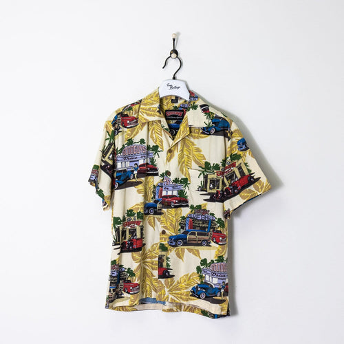 Good Guys Patterned Shirt Beige/Yellow/Blue Large