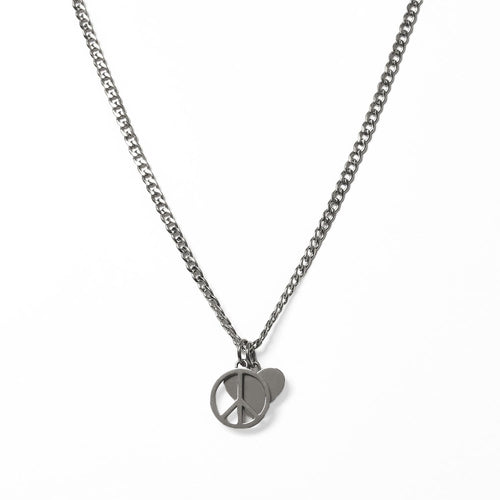 Peace & Love Necklace Silver