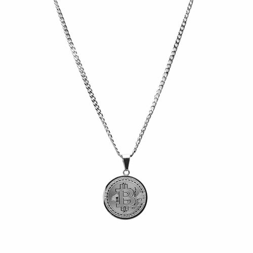 Bitcoin Necklace Silver