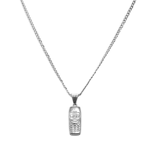 Trap Phone Necklace Silver