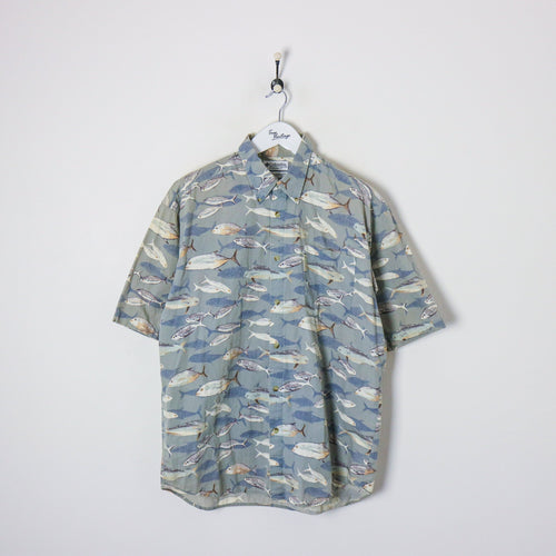 Columbia S/S Fish Shirt Green/Blue XL Party Shirts Columbia