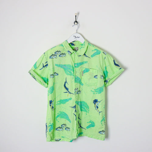 Columbia Vintage Fish Shirt Green Large Party Shirts Columbia