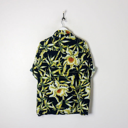 Floral Shirt Navy/Yellow XXL Party Shirts True Vintage Clothing