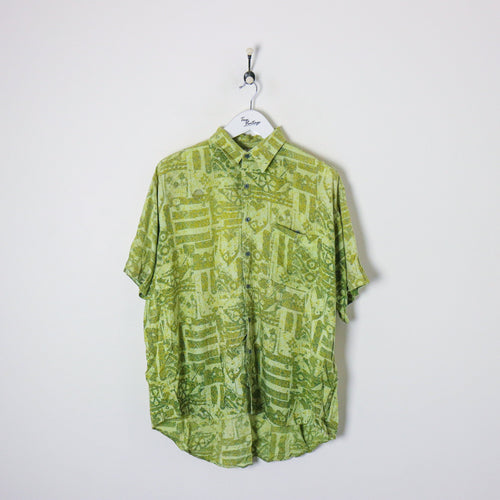 Vintage Abstract Shirt Green XL Party Shirts True Vintage Clothing