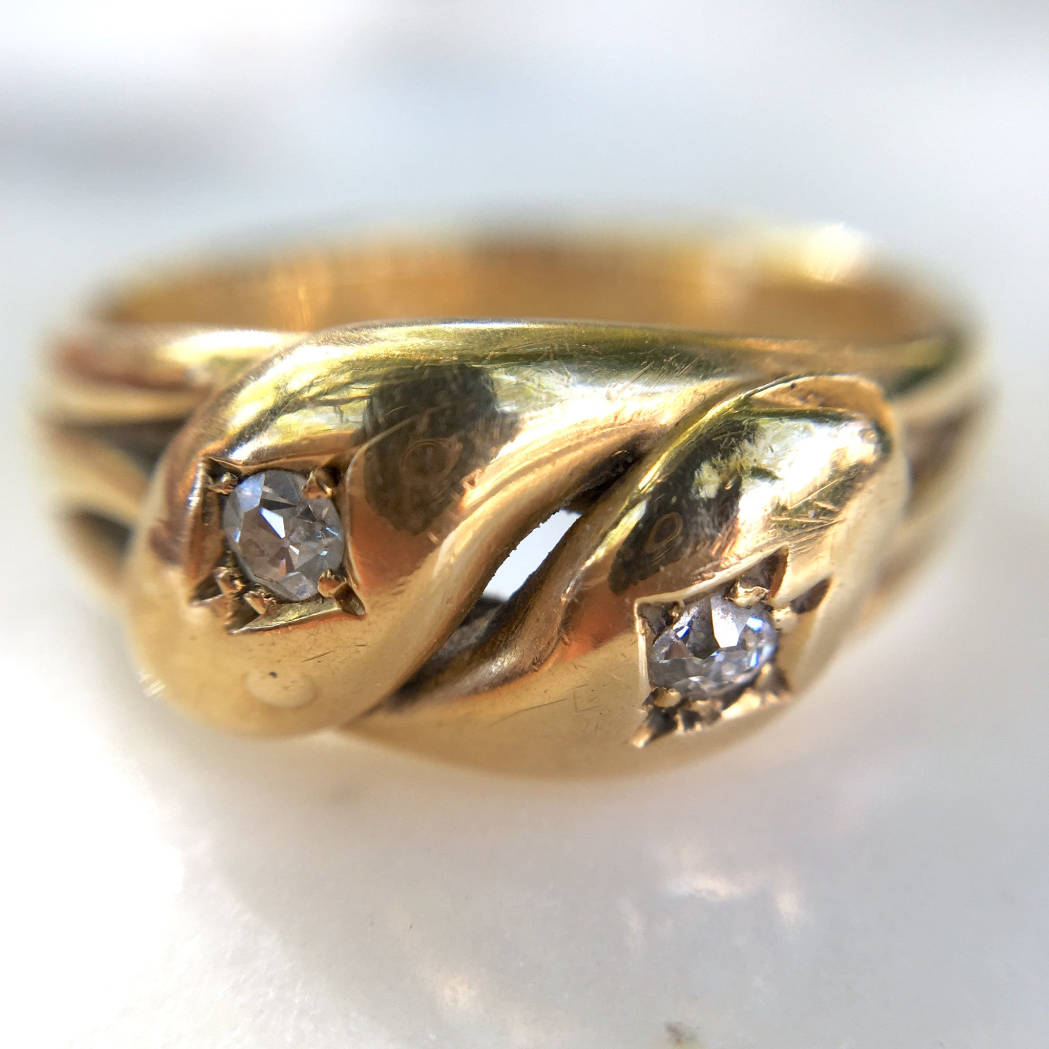 Antique Double Diamond Snake Ring