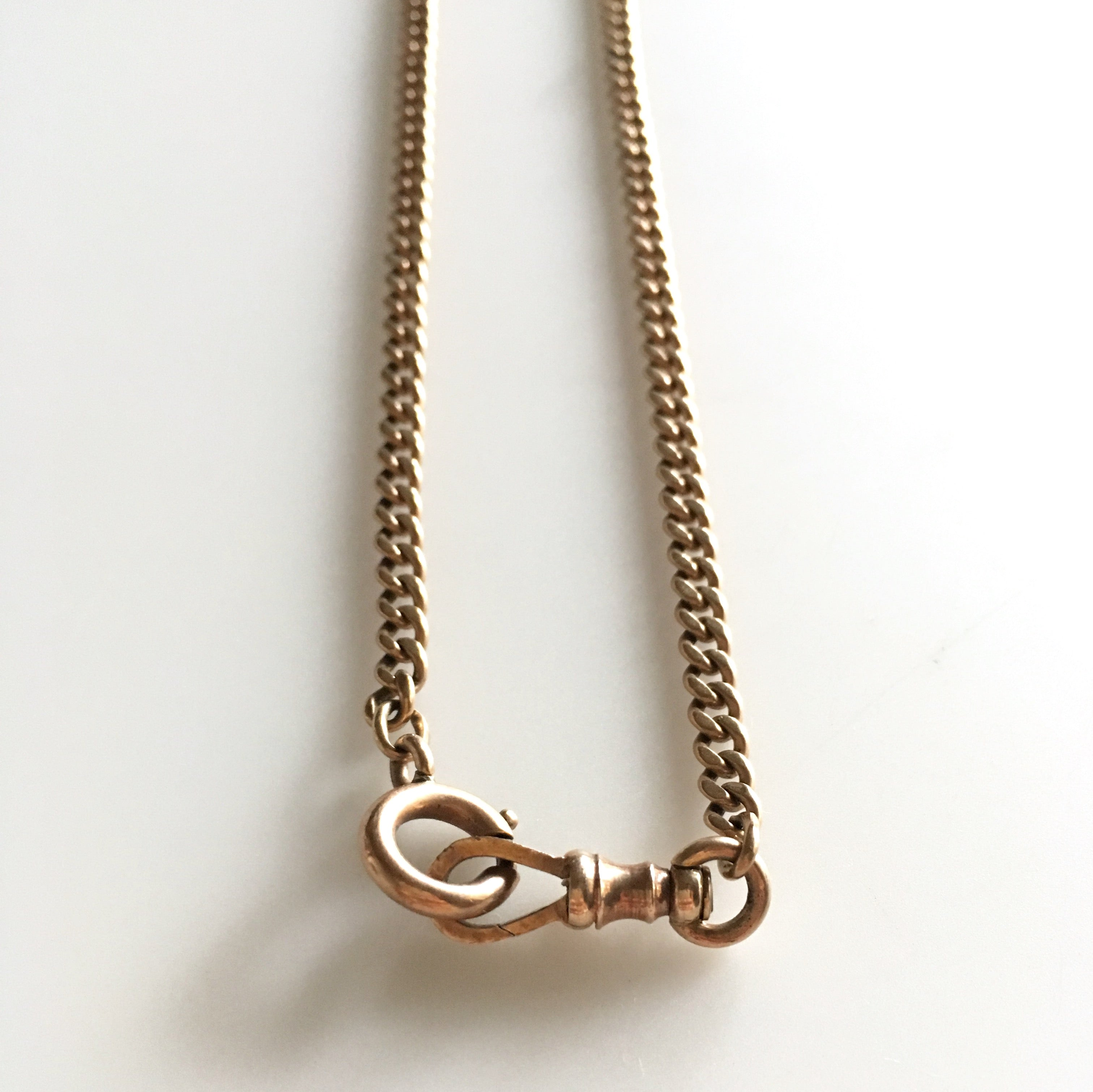 Antique rose gold curb-link chain, 15""
