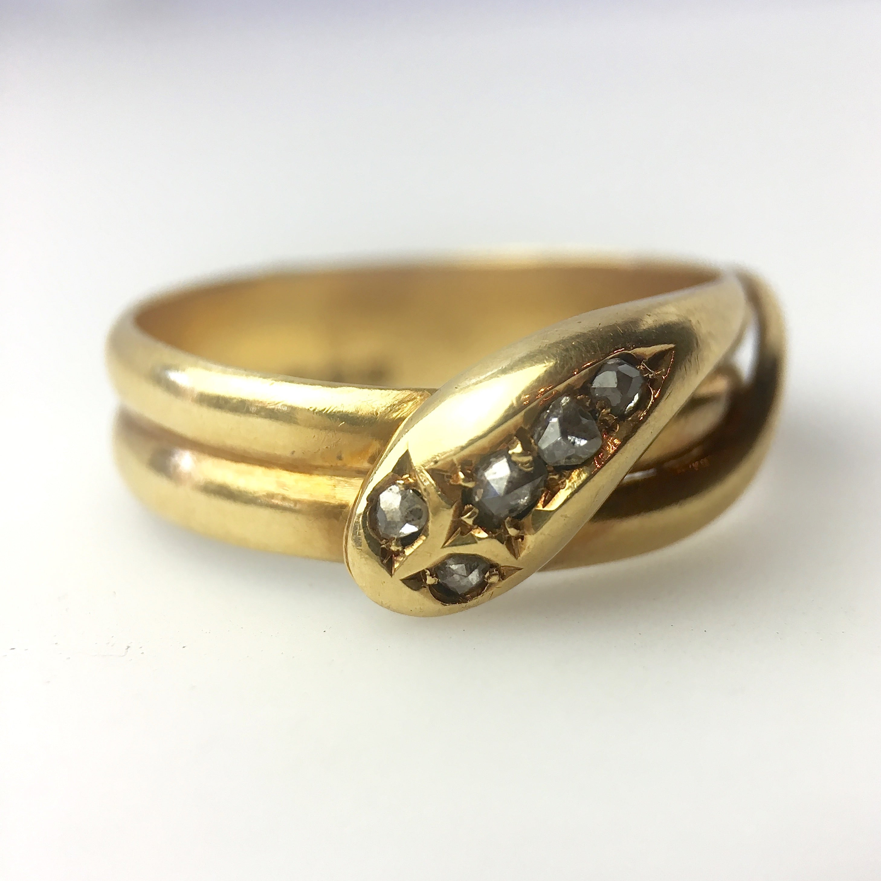 Antique Snake Ring with rose cut diamonds