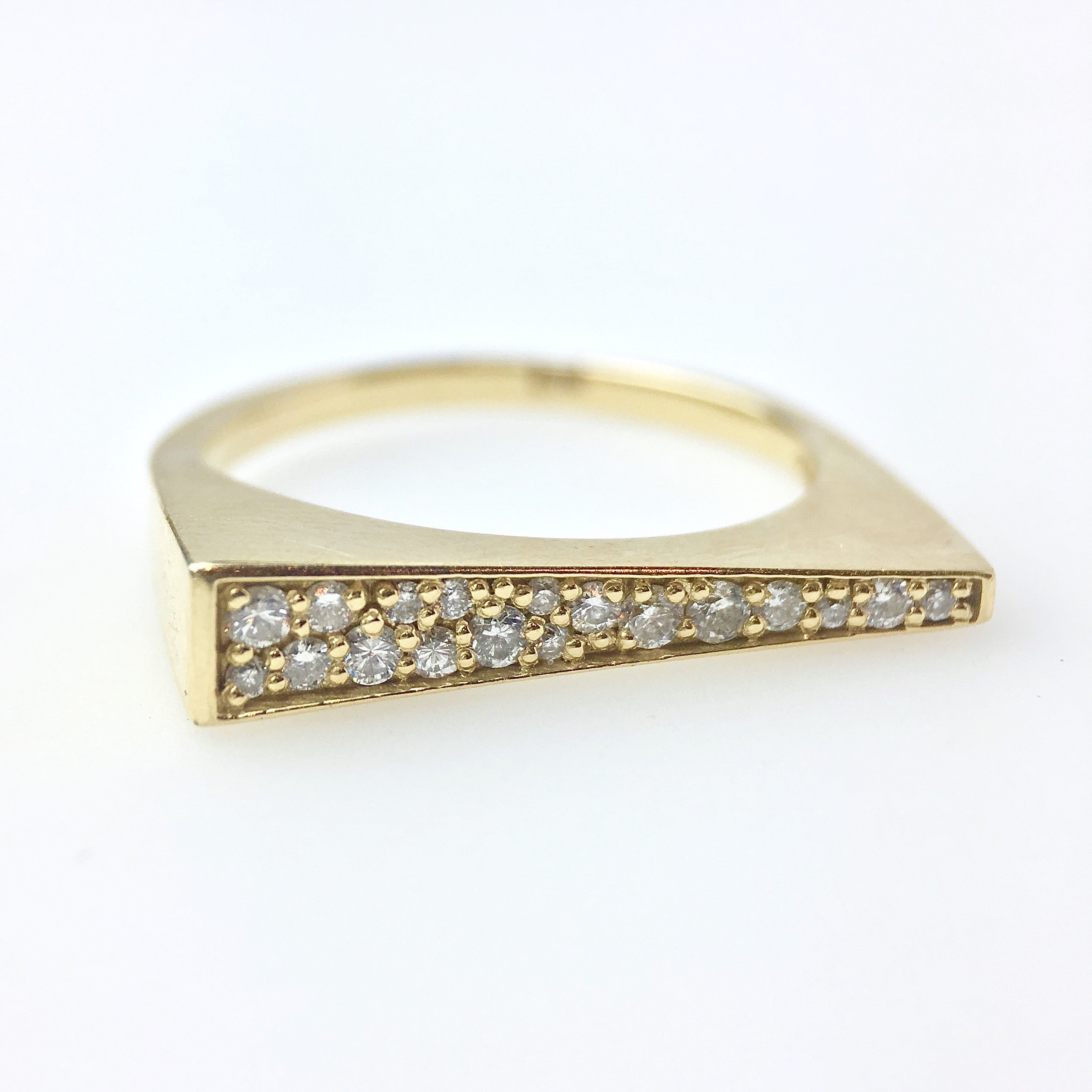 asymmetrical diamond pavé ring