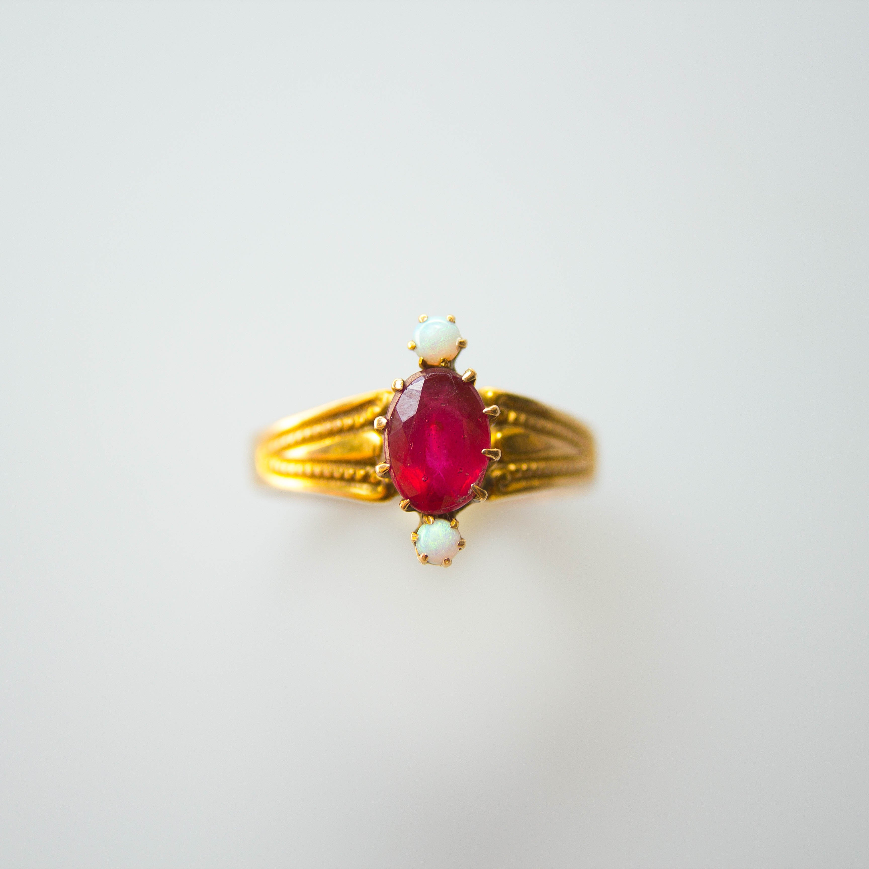antique garnet and opal ring