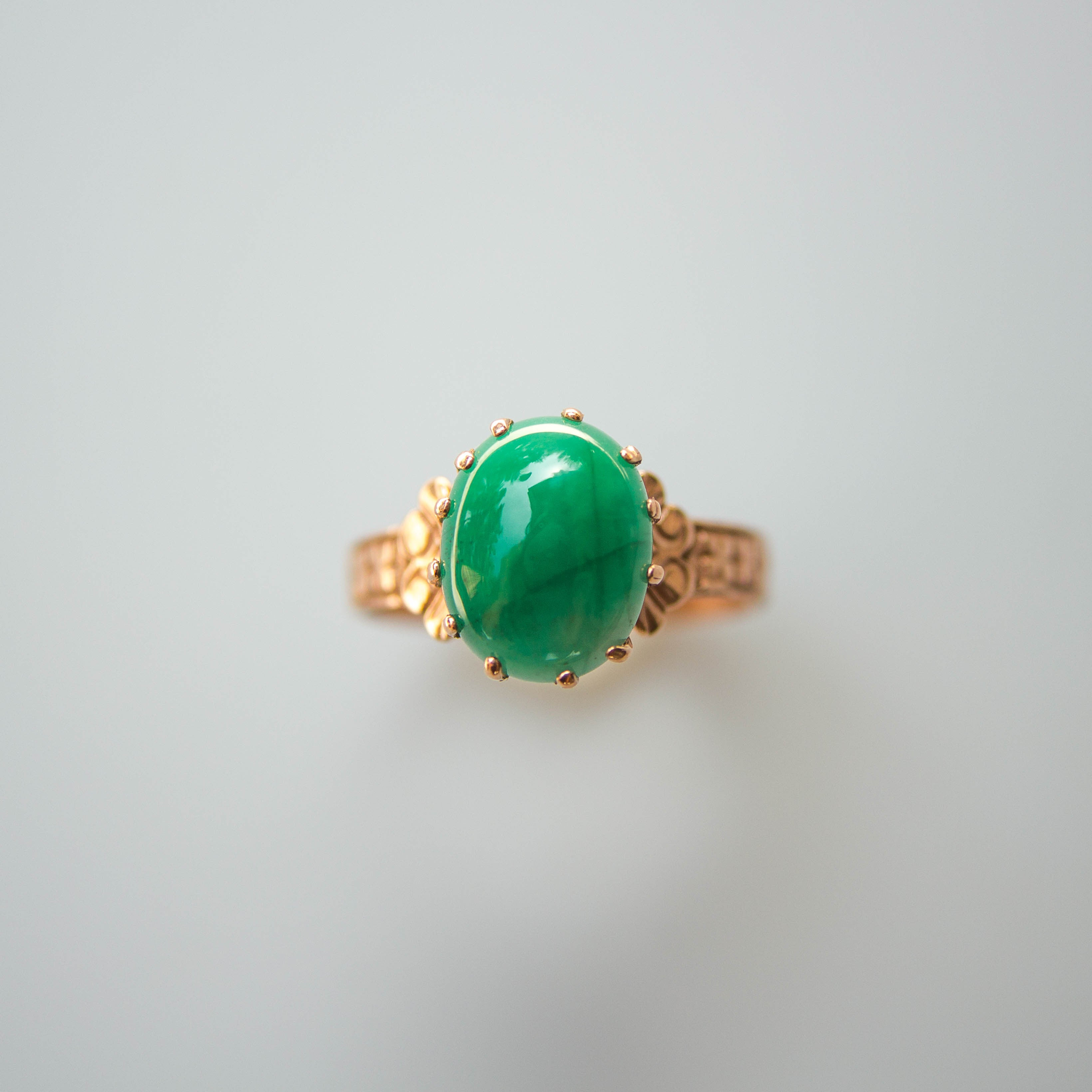 VICTORIAN EMERALD SOLITAIRE RING