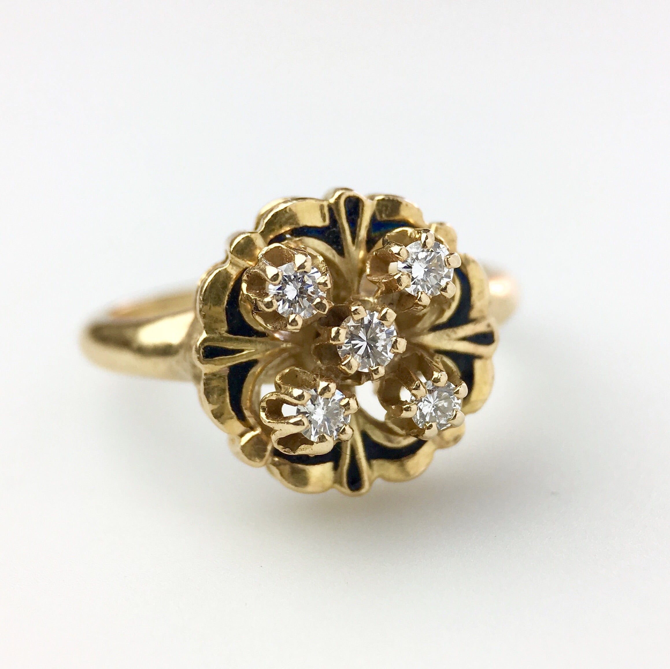 ANTIQUE 14K YELLOW GOLD with DIAMONDS & ENAMEL Ring