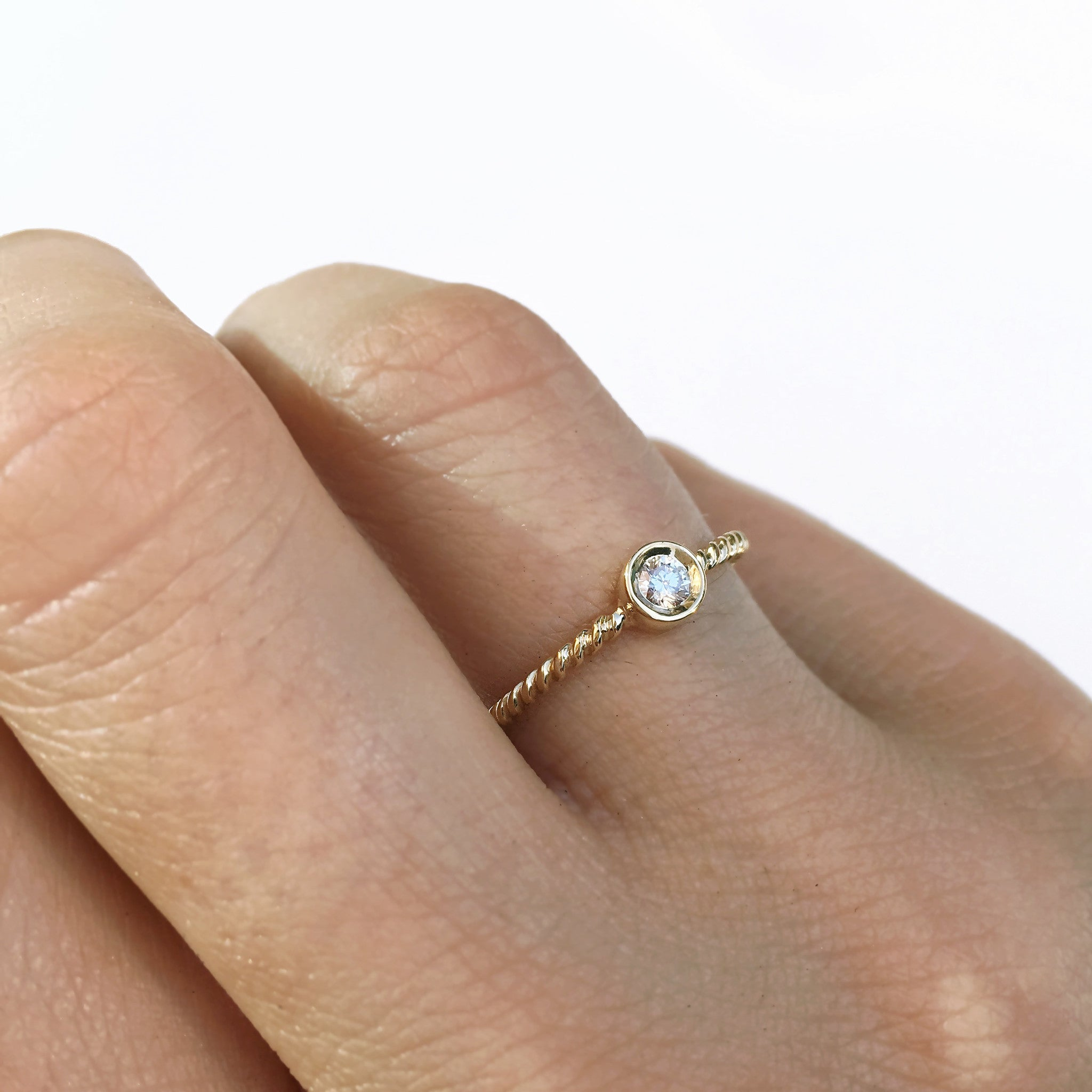 Petite Diamond Bezel Gold Solitaire Ring
