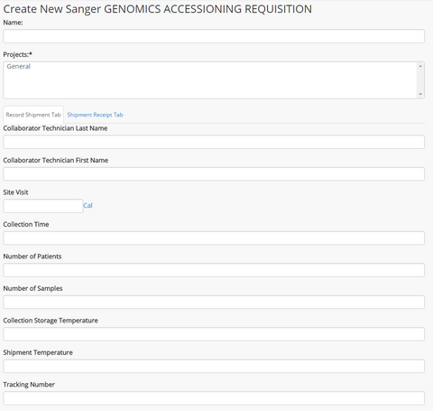 Create New Sanger Genomics Accessioning Requisition