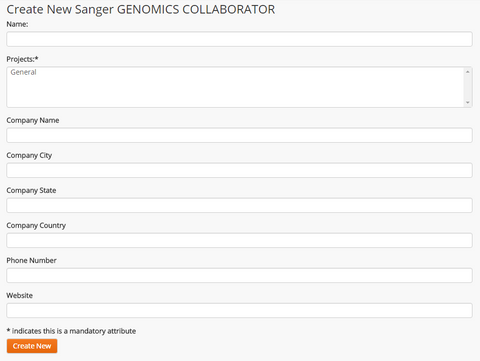 Create New Sanger Genomics Collaborator