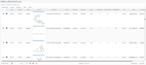 Small Molecule Registration Query Results