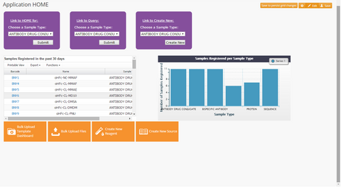 Therapeutic Biologics Registration App Dashboard