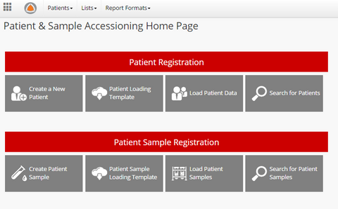 Patient & Sample Accessioning App Dashboard
