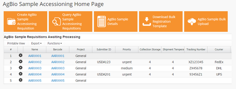AgBio Sample Accessioning App Dashboard