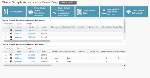 Clinical Sample Accessioning App Dashboard