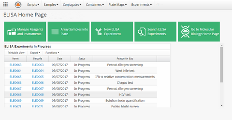 ELISA Management App Dashboard