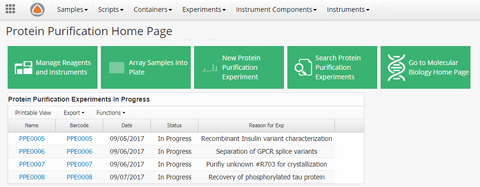 Protein Purification App Dashboard