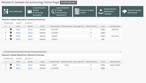 Research Sample Accessioning App Dashboard