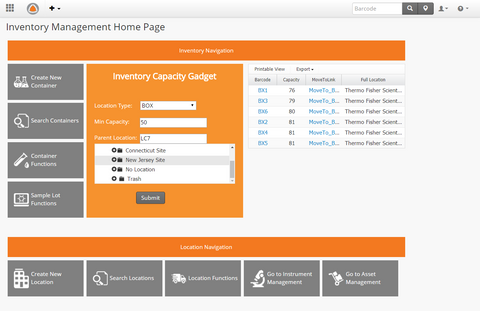 Sample Inventory Management App Dashboard