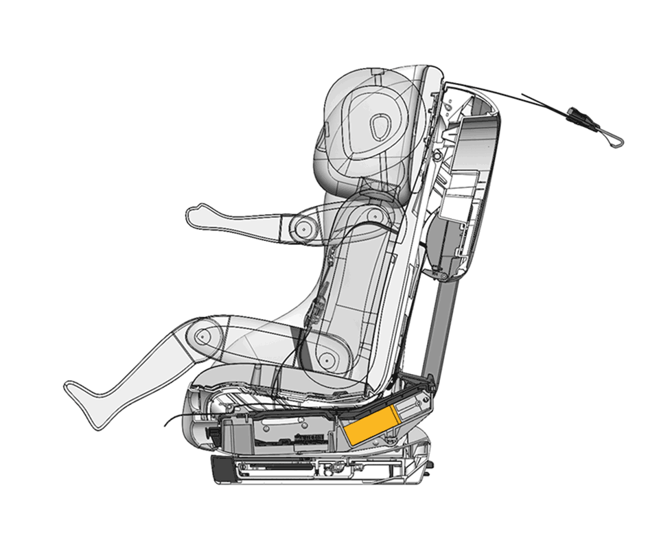Cutaway illustration of the REACT energy-absorbing technology pre collision