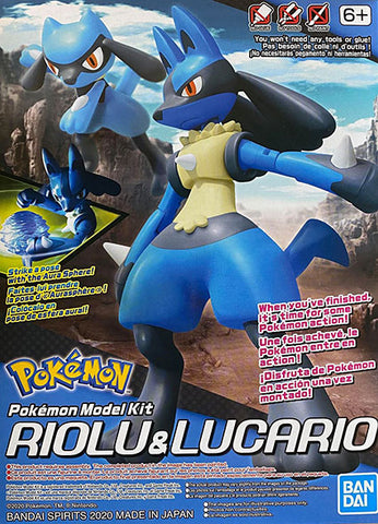 Pokemon Plamo Model Kit: Riolu & Lucario